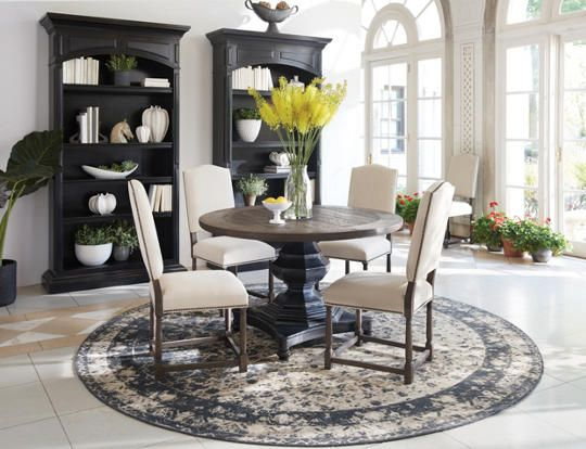 The beautiful Tregunter Dining Collection by Nigel Barker includes a  classic round pedestal table in a two tone finish and upholstered side  chairs that are  27 best Dining Room Decor images on Pinterest   Art van  Room  . Arlington Round Sienna Pedestal Dining Room Table W Chestnut Finish. Home Design Ideas
