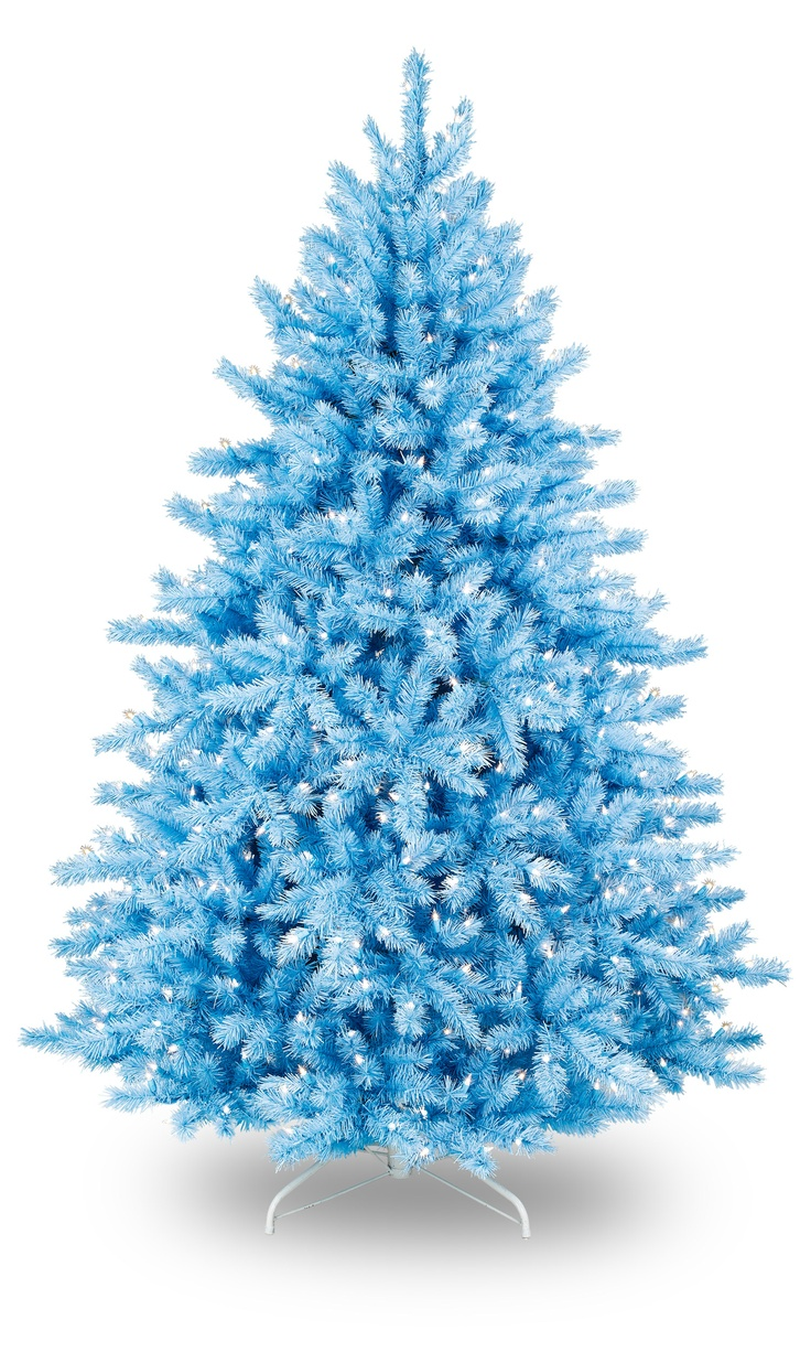 White christmas tree with purple and blue decorations - Baby Blue Christmas Tree