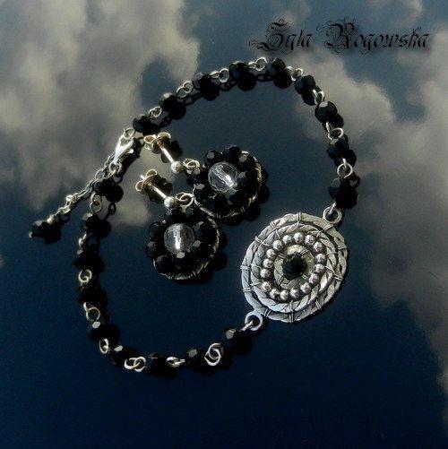 BLACK LADY Set Bracelet AND Earrings  silver by BraceletsWorld, $69.00