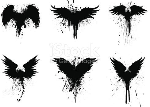 Set of 6 grunge wings graphic elements.