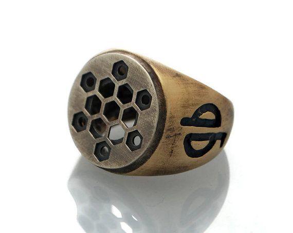 Silver Star Brass Signet ring Sacred Geometry by galbarash on Etsy