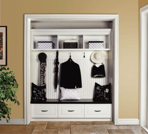 Closet converted into mini mudroom.... leave doors on (attched so open seperately)