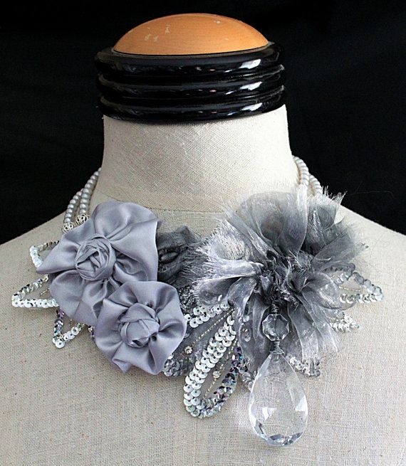 PLATINUM ROSES Floral Bib Necklace by carlafoxdesign on Etsy, $275.00