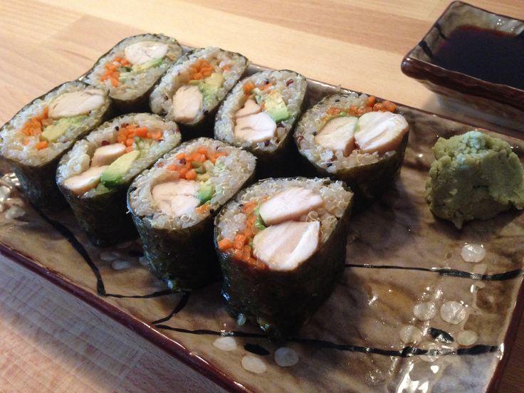 Quinoa Sushi... I would still use raw fish :)