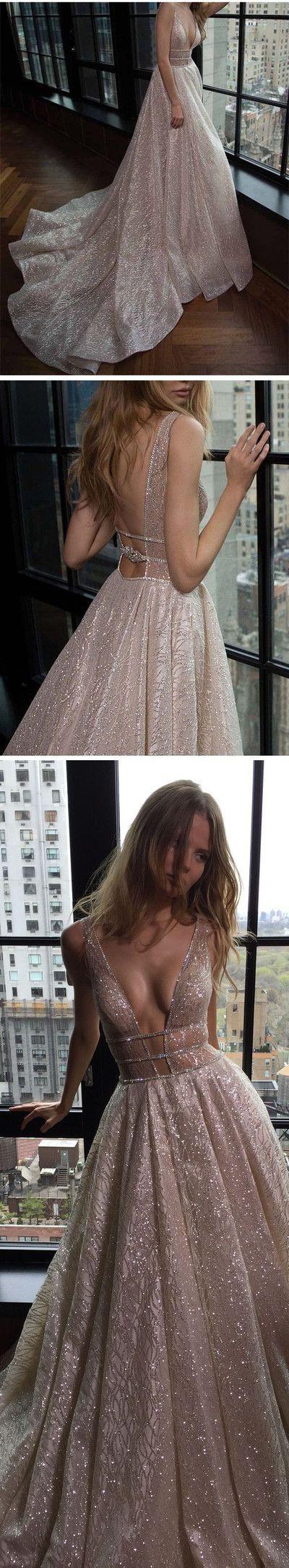prom dresses, 2017 sparkling prom dresses, backless prom party dresses, grey party dresses with beading train,254