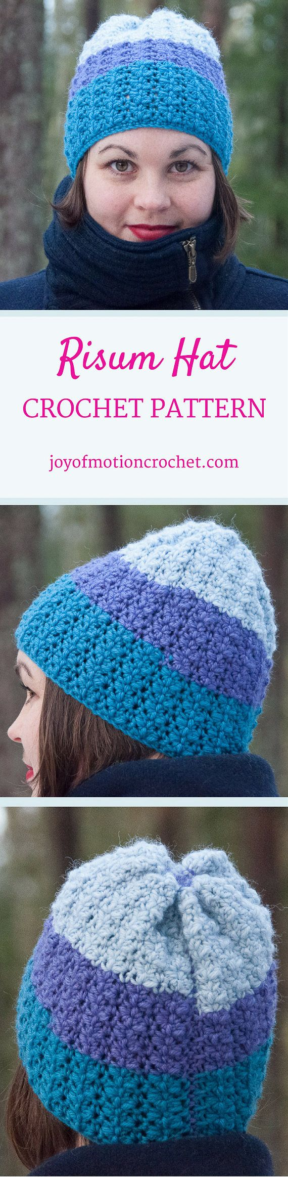 Risum Hat Crochet Pattern ★ Crochet pattern for the Risum Hat, a striped thick hat/beanie. ★ Easy to modify if you want to change the size. ★ Size: 12-18 months, 18-24 months, 2-5 years, Child, Teen, Adult Woman, Adult Man ★ Skill level: EASY ★ Language: English / US crochet terms. The Risum hat crochet pattern is a pattern for a warm winter hat. This beanie pattern has a huge size range from 12 months to adult size. Put this to use & keep yourself warm throughout fall & w...