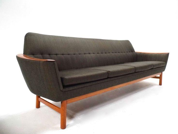 Mid Century Norwegian Dark Green Wool & Teak 4 Seater Sofa 1960s