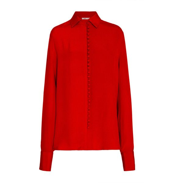 Bouguessa Dome Buttons Crepe Shirt featuring polyvore women's fashion clothing tops bouguessa red oversized shirt crepe top red button shirt red long sleeve shirt button top