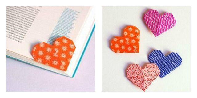 Marcador de páginas de coração, feito com origami