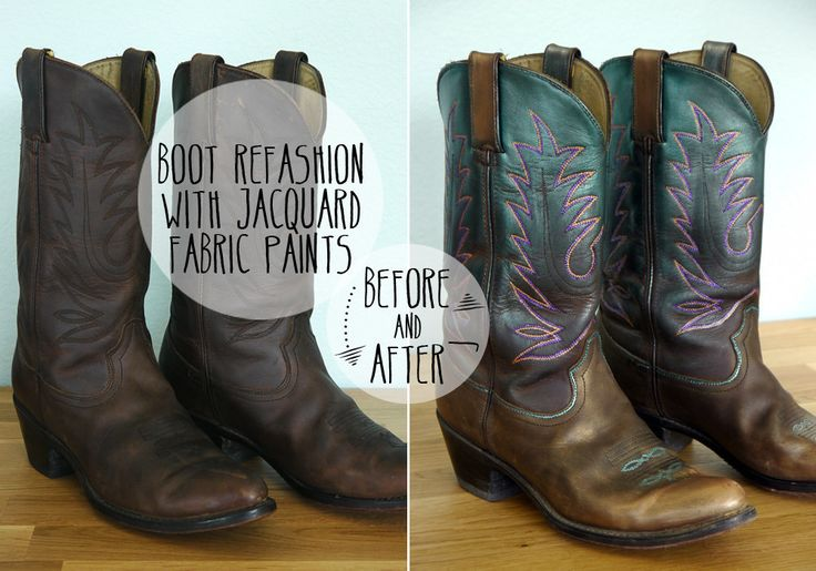 Sassy Cowgirl Boot Refashion With Fabric Paint  •  Free tutorial with pictures on how to make a pair of cowboy boots in under 60 minutes