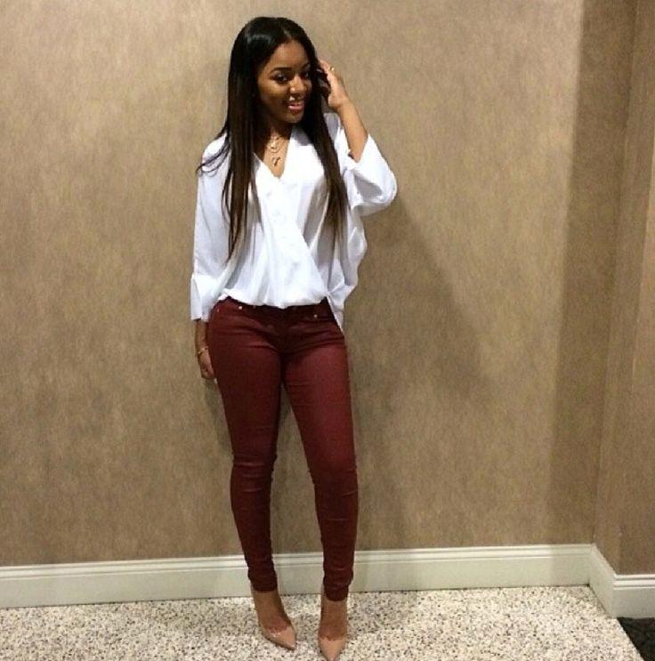 Burgundy pants with white blouse fashion:pants