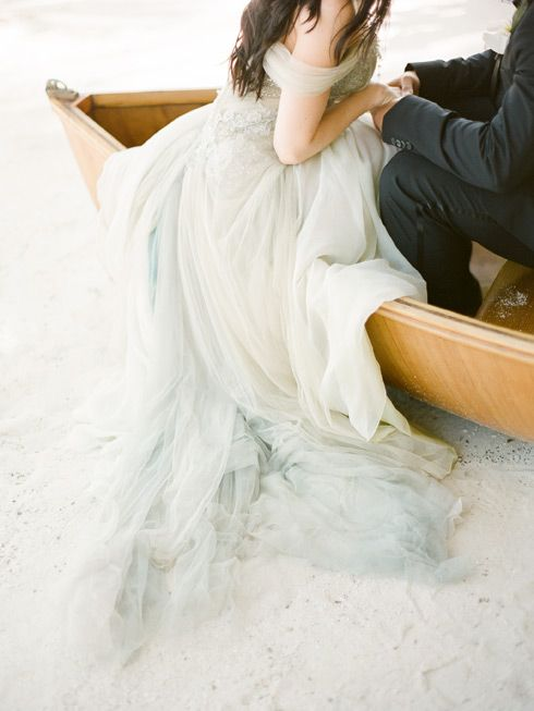 Pale blue tulle wedding dress. Islamorada - Britt + Sam - KT Merry Photography - Destination Weddings Worldwide - Fine Art Film Wedding Photography