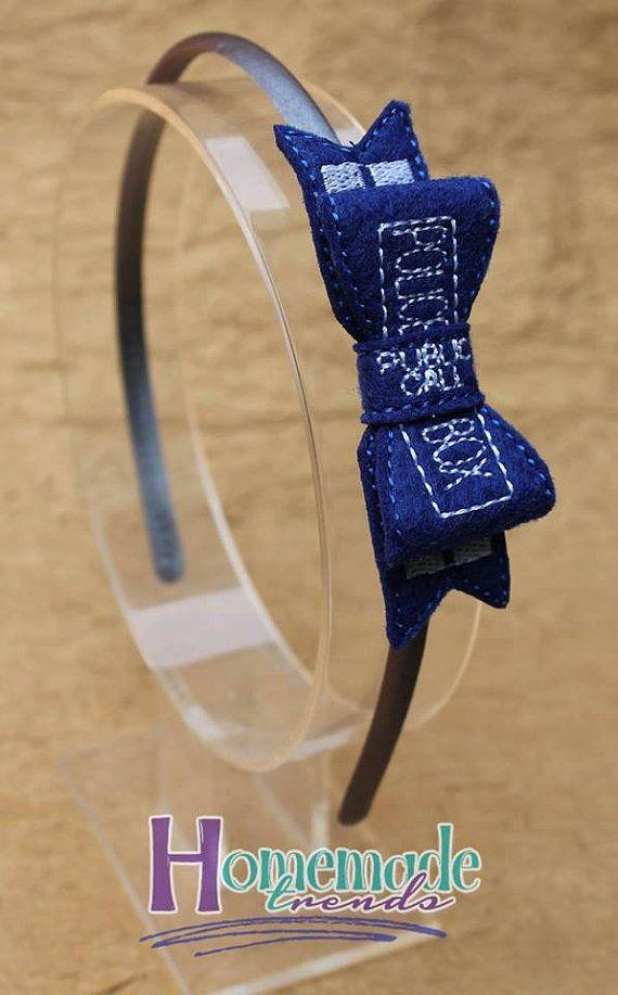 Police Box Bow-Police Box Headband-Blue 3D Bow-Police Box Accessory-Geeky Hair…