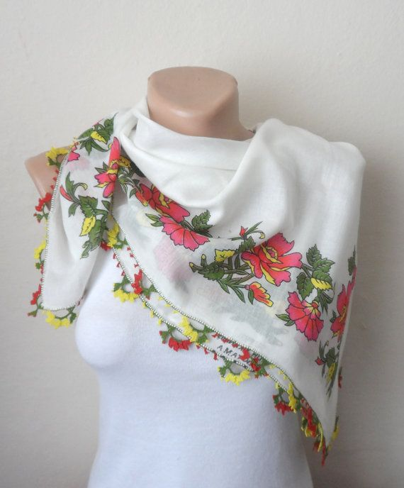 white scarf  floral print scarf cotton yemeni scarf oya scarf