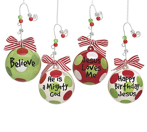 Religious Christmas Ornament Assortment: Jesus Loves Me Spiritual Christmas Ornament Set 4 Holiday