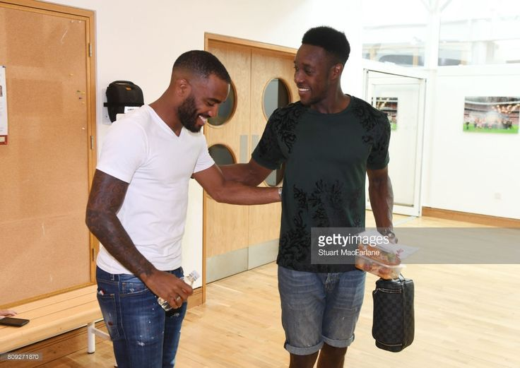 New Arsenal signing Alexandre Lacazette meets Danny Welbeck at London Colney on July 4, 2017 in St Albans, England.  (Photo by Stuart MacFarlane/Arsenal FC via Getty Images)