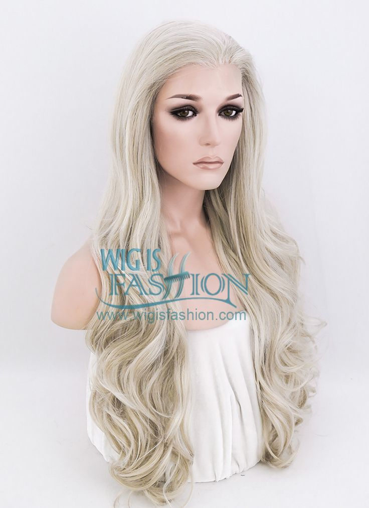 "26"" Long Curly Ash Blonde Lace Front Synthetic Fashion Wig LF364 - Wig Is Fashion"