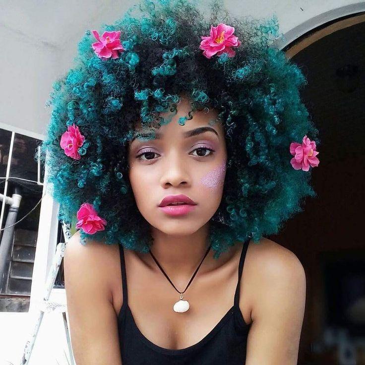 Teal natural hair