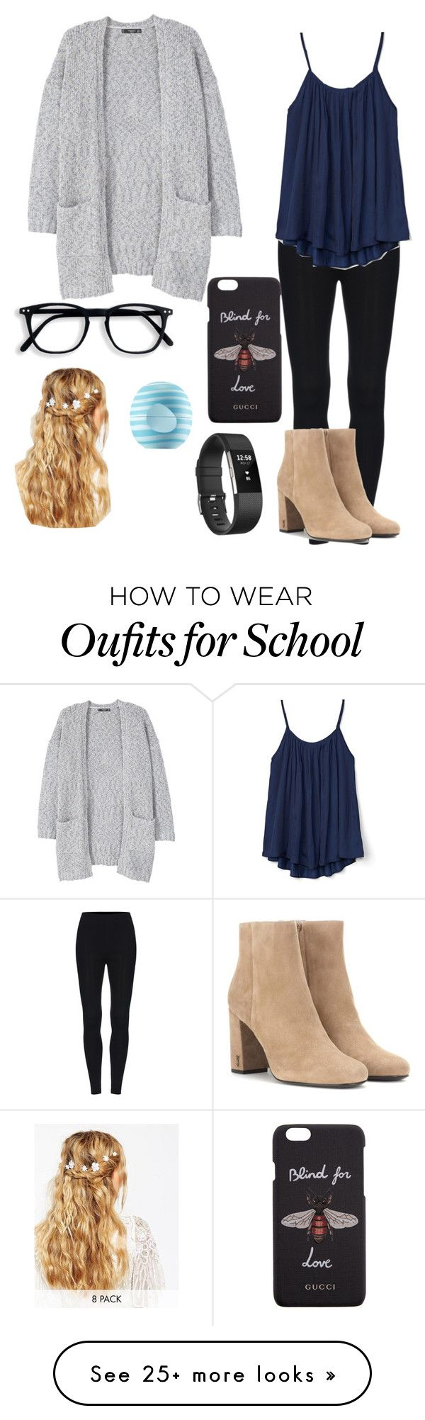 """School"" by kiwicafe on Polyvore featuring MANGO, Gap, Yves Saint Laurent, Gucci, ASOS, Eos and Fitbit"