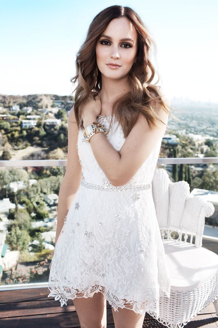 leighton meester nelly shoot1 Leighton Meester Fronts Spring 2014 Campaign for Nelly.com white lace dress
