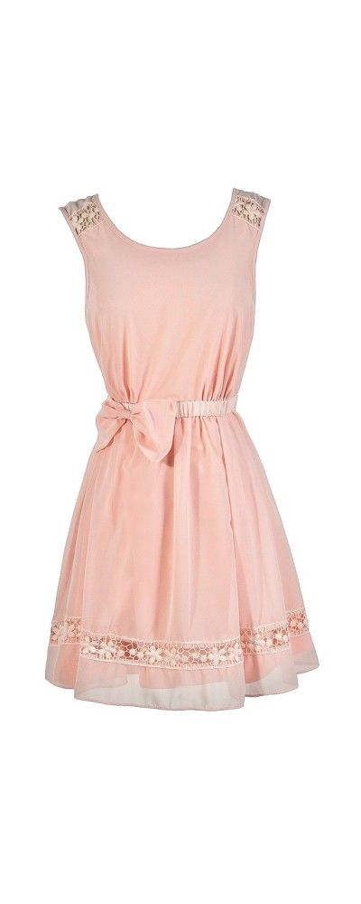 Bow Your Own Way Chiffon Dress in Pale Pink  www.lilyboutique.com