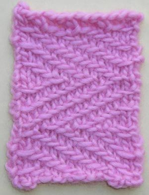 hundreds of stitch patterns for free at knittingonthenet.com -- woven transverse herringbone pictured
