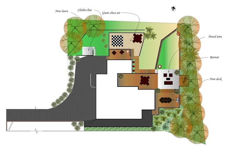 Concept plan for large property. Plan includes giant chess set. Design by Fusion Landscape Design.