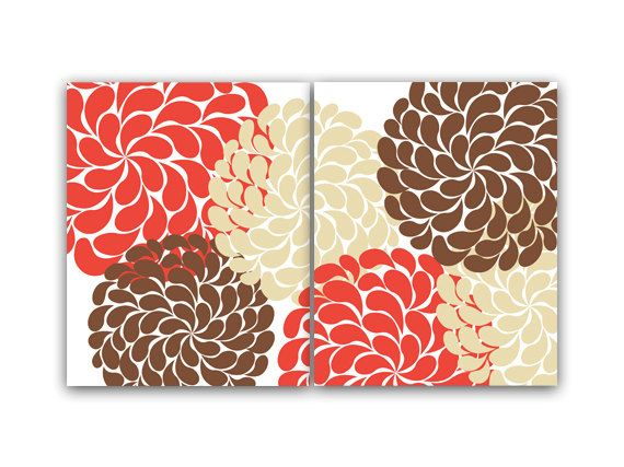 Home Decor Wall Art Coral And Brown Flower By