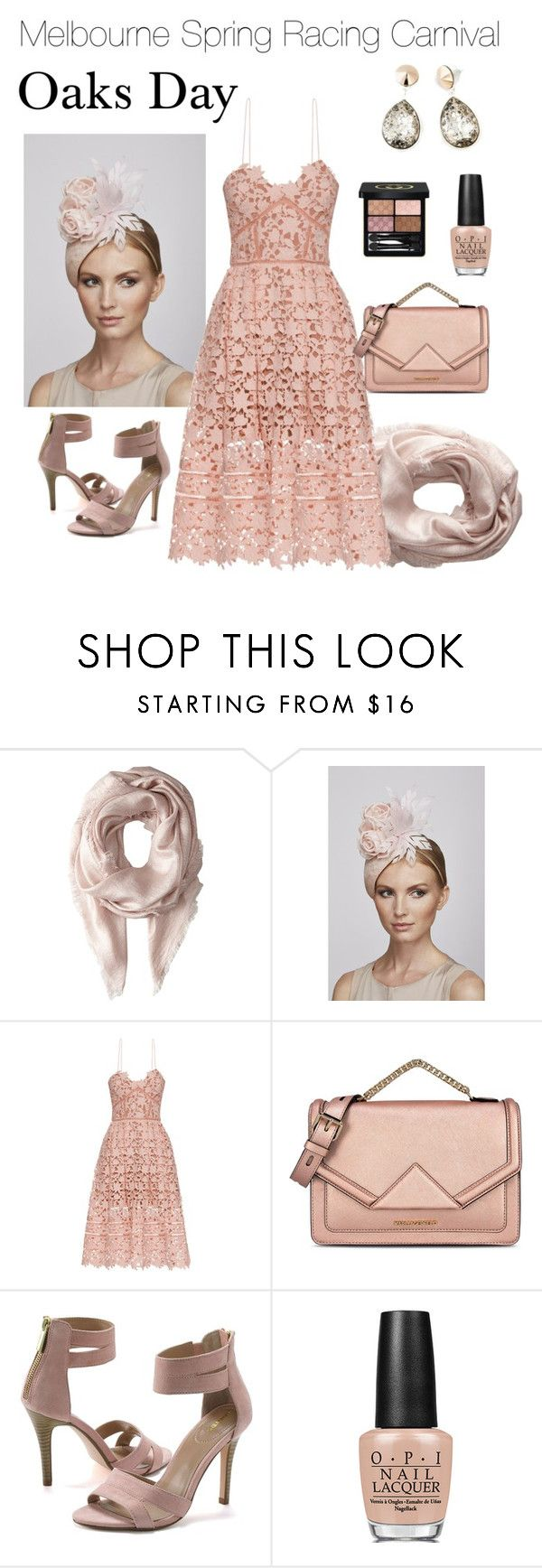 """Melbourne Spring Racing Fashion-Oaks Day"" by irockjewellery on Polyvore featuring Echo Design, Juliette Botterill Millinery, self-portrait, Karl Lagerfeld, Lands' End, OPI, Gucci, StyleInspiration, StyleTips and fashionset"