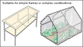 Build a PVC shade frame for your garden. This site is where to buy the PVC joints, but you can take the ideas and run with it on your own.