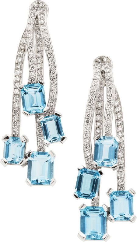 Modern Fairytale / Cinderella. Aquamarine, Diamond, White Gold Earrings