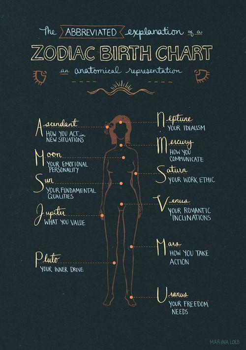 Anatomical representation of a zodiac birth chart.  Sun, Mercury, Jupiter - Virgo  ||  Neptune, Uranus, Rising - Capricorn  || Moon, node - Sagittarius  ||  Venus - Libra  ||  Saturn - Aquarius  ||  Pluto - Scorpio  ||  Mars - Gemini