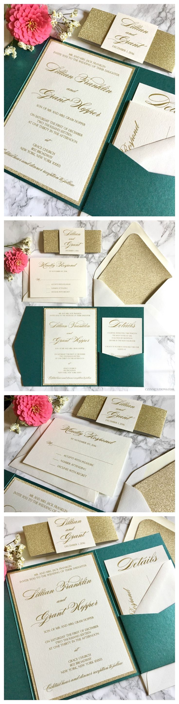 Emerald and Gold Glitter Pocket Wedding Invitation with matching Belly Band from www.CZInvitations.com. Visit us to see more colors, fonts and styles!