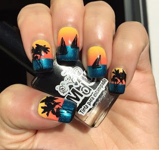 Not So Secret Lover of all Things Nails : Nails with IG Friends.....landscape. Time for a trip to the beach? Or maybe your nails just need to give you a relaxing beach feel. Nail stamps from UberChic Beauty can give you just that #UberChicBeauty #UberChic #nails #nailaddict #nailart #nailstamps #beachnails #ocean #sunset