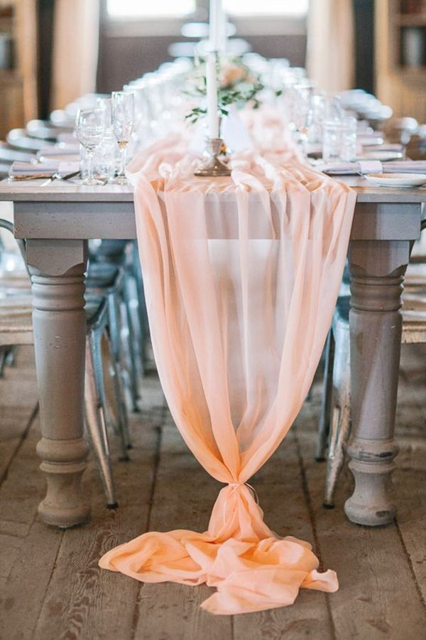 Peach Chiffon Table Runner | Svetlana Photography | http://heyweddinglady.com/summer-brunch-wedding-ideas-peach-blue/