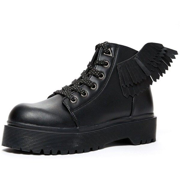 YRU 'Slayr Angyl combat boot with wings, black ($89) ❤ liked on Polyvore featuring shoes, boots, wide width boots, black bootie boots, black combat boots, wide ankle boots and bootie boots