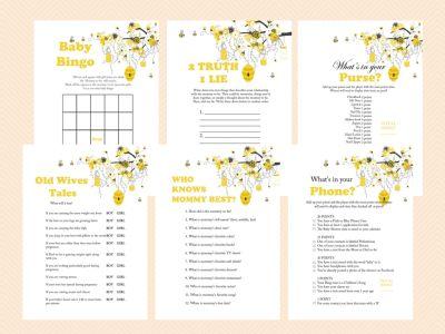 Printable, Bee Theme Printable Baby Shower Games, Bumble Bee Baby Shower Games, Honey bee