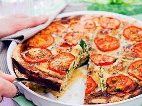 Broccoli- och brieostpaj med tomat som går utmärkt att förbereda dagen innan om du vill.