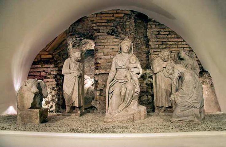 The nativity at the church of Santa Maria Maggiore, Rome. It's the oldest known nativity scene, c.1300?