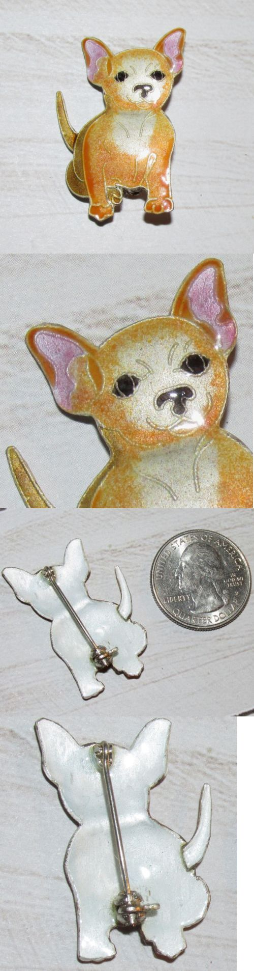 Precious Metal without Stones 164336: Chihuahua Tan Fawn Dog Puppy Sterling Silver Enamel Pin Brooch 1 3/8H Zarah New BUY IT NOW ONLY: $42.0