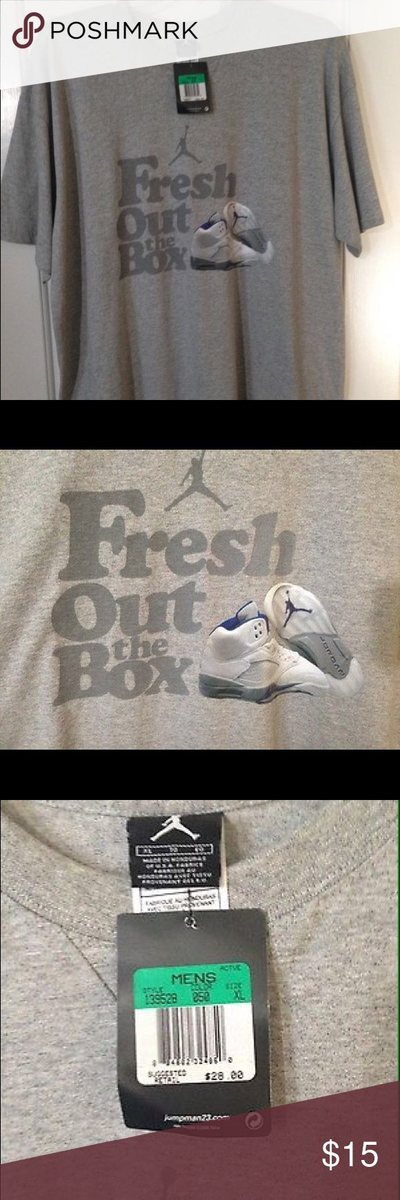 """Nike Air Jordan Retro 5 Gray T-Shirt US XL Hello All, Today I am selling a Nike Air Jordan 5 Retro """"Fresh Out The Box"""" T-Shirt. This shirt is gray with the words """"Fresh Out the Box"""" and image of the Jumpman Logo/Air Jordan 5 Stealth. It has never been worn and is brand new with tags. Thank you for checking out my listing! Jordan Shirts Tees - Short Sleeve"""