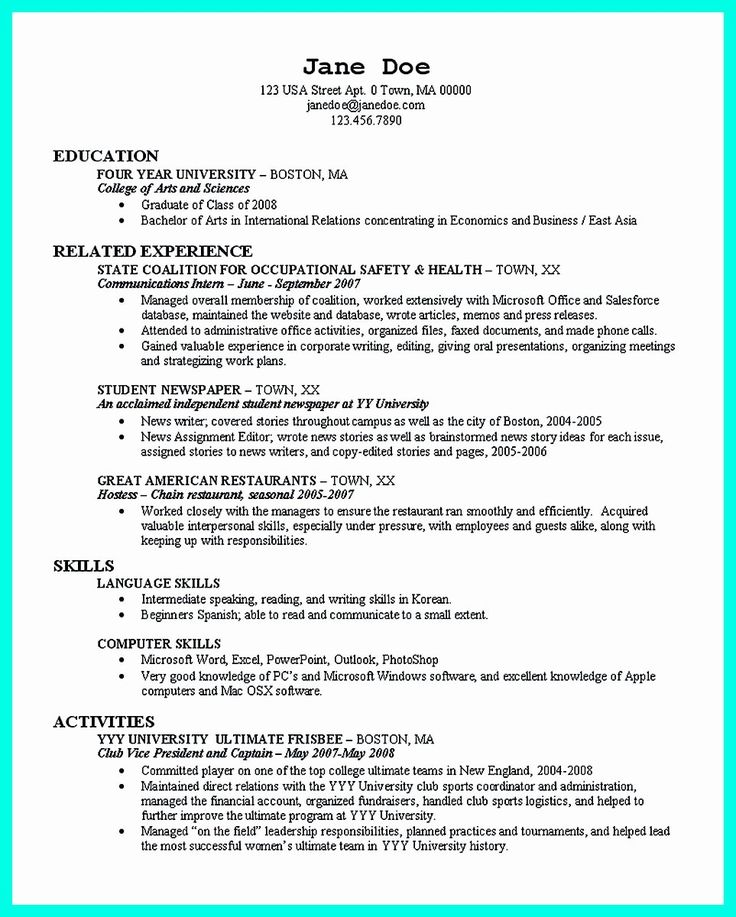 College Graduate Resume Template Best Of the Perfect