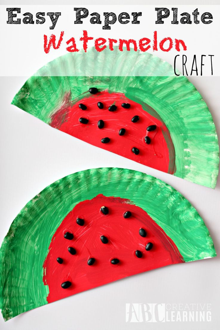 Simple Art And Craft Ideas For Kids Part - 25: Easy And Simple Paper Plate Watermelon Kids Craft Project