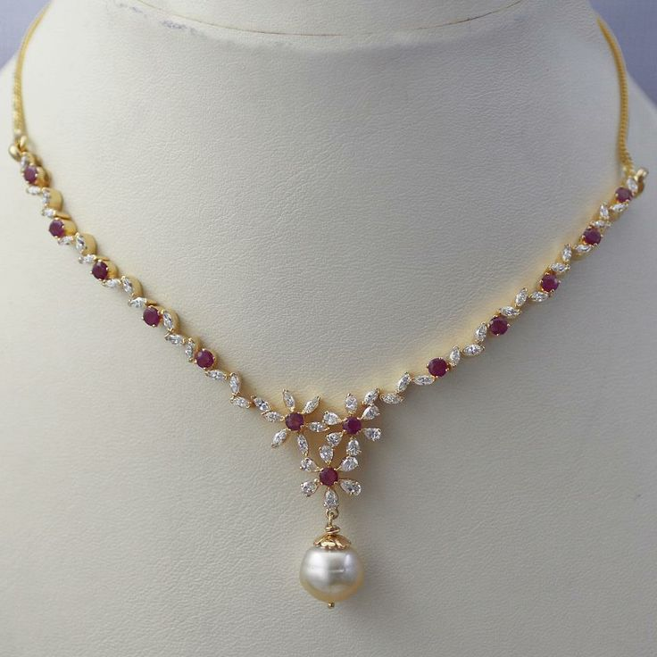 Sleek Ruby Diamond Necklace - Indian Jewellery Designs South Jewellery