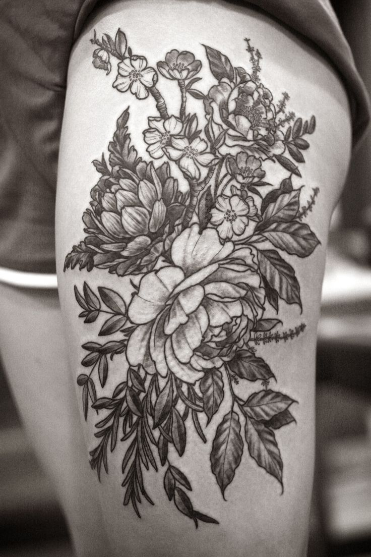 Flower thigh tattoos women fashion and lifestyles - Floral Thigh Piece By Alice Carrier At Wonderland Tattoo In Portland Or Guess I Should Be Going To Portland In The Lines