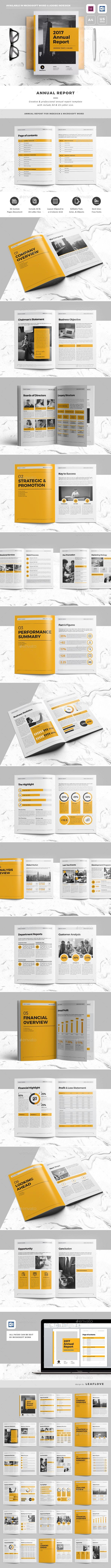 Annual Report Brochure Template InDesign INDD - 36 Pages, A4 & US Letter