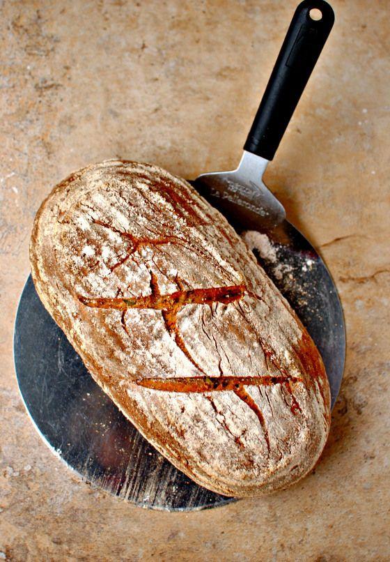 spelt bread-5 ingredients-spelt flour, baking soda, salt, plain yogurt, honey