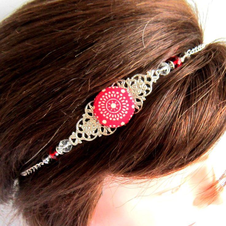 Head band argenté et rouge, rétro, bohème chic, bijou de tête, collier, cabochon en tissu et perles cristal : Accessoires coiffure par color-life-bijoux