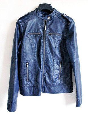 Kupuj mé předměty na #vinted http://www.vinted.cz/damske-obleceni/bundy/15413102-modra-kozenkova-bunda-biker-jacket-tchibo