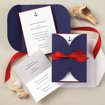 Nautical Beauty Wedding Invitation - These are nautical which can work with a beach wedding but may be better suited for a wedding that is taking place on a boat. Or even a Navy wedding!